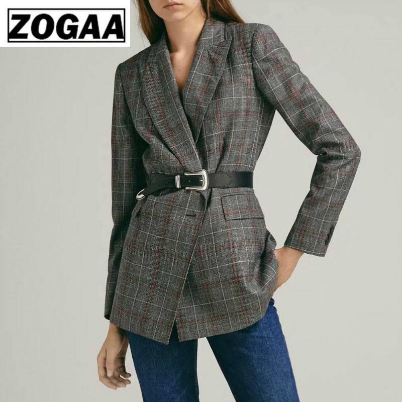 ZOGGA Solid High Street Plaid Casual Slim  Women Blazers High-quality Polyester Anti-pilling Double Breasted Blazer Feminino