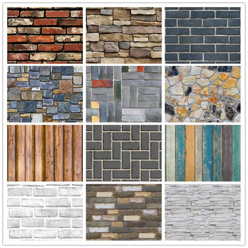 Home Decor 3D PVC Wood Grain Wall Stickers Paper Brick Stone Wallpaper Self-Adhesive Living Room Bedroom Kitchen Decoration