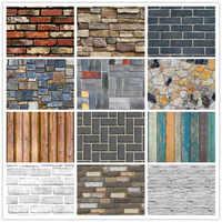 Home Decor 3D PVC Wood Grain Wall Stickers Paper Brick Stone wallpaper Rustic Effect Self-adhesive Home Decor Sticker Room