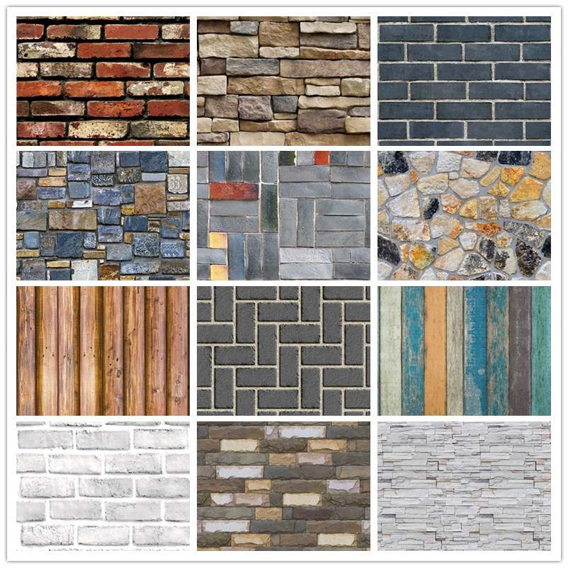Home Decor 3D PVC Wood Grain Wall Stickers Paper Brick Stone wallpaper Rustic Effect Self-adhesive Home Decor Sticker Room image