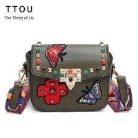TTOU NEW Arrival Floral Designer Women Shoulder Bag PU Leather Colorful Strap Messenger Crossbody Luxury Handbags
