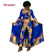 Hitarget 2017 Autumn African Design Bazin Elegant Womens Long Sleeve Rompers Jumpsuit Dashiki Pants Plus Size Clothing WY2060