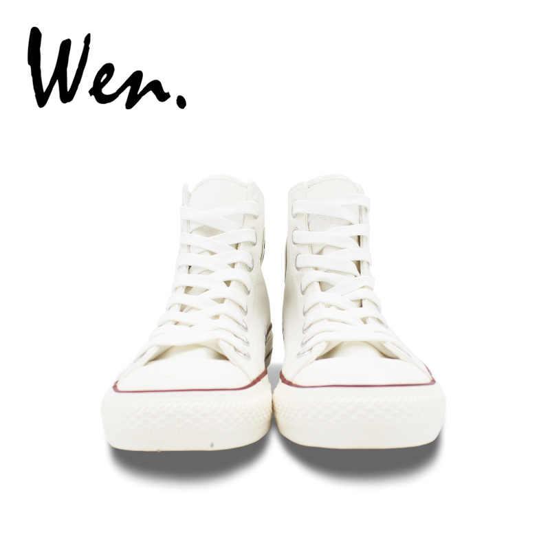 Wen Top Hohe Turnschuhe Original Design Ethnische Totem Ox Kopf Weiß Leinwand Schuhe Mann Espadrilles Flache Frauen Plattform Plimsolls