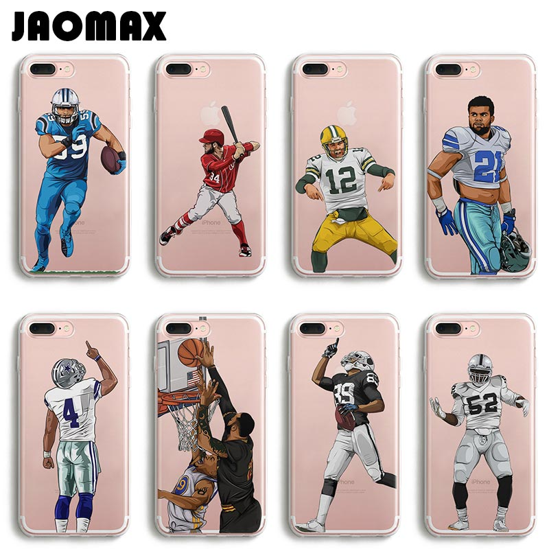 Jaomax Sport Player Soccer Football Phone Case For iPhone 6 6S 6 Plus 5 5S SE 7 7 Plus Transparent Silicone Cases Cover Fundas