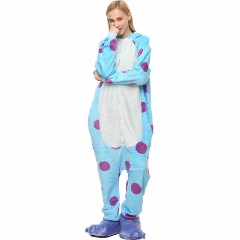 Kigurumi Sullivan, зимняя Фланелевая пижама, плюшевый цельный комбинезон для взрослых, Мультяшные пижамы с животными, женский комбинезон Салли