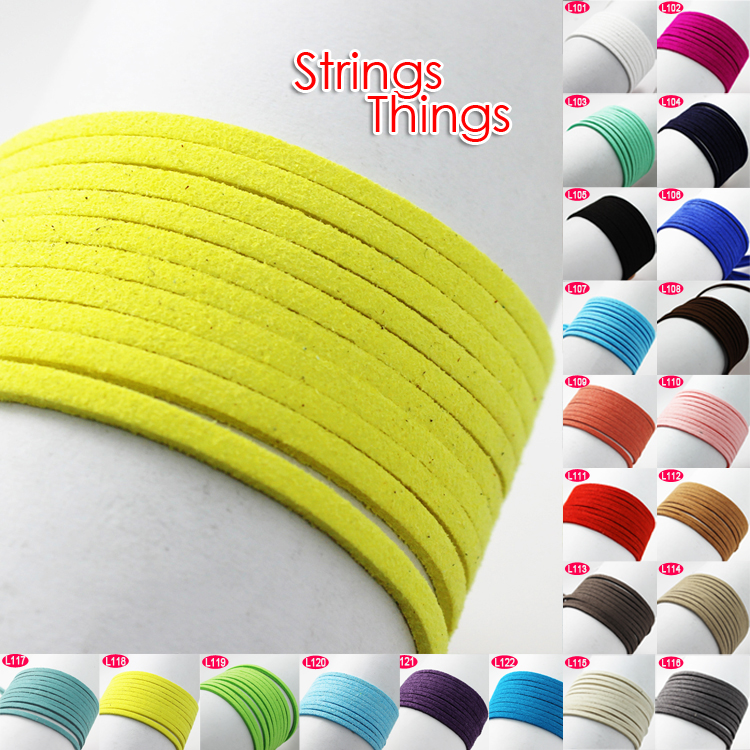 Mix Color 3mm Flat Faux Suede Korean Velvet PU Leather Cord String Rope Thread Lace Findings