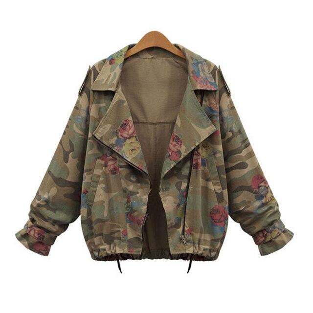 Горячий Продавать 2015 Женщин Куртка Большой Воротник Короткий Осень Дамы Верхняя Одежда Евро Стиль Камуфляж Цветочные Пальто Женщина Плюс Размер QY027