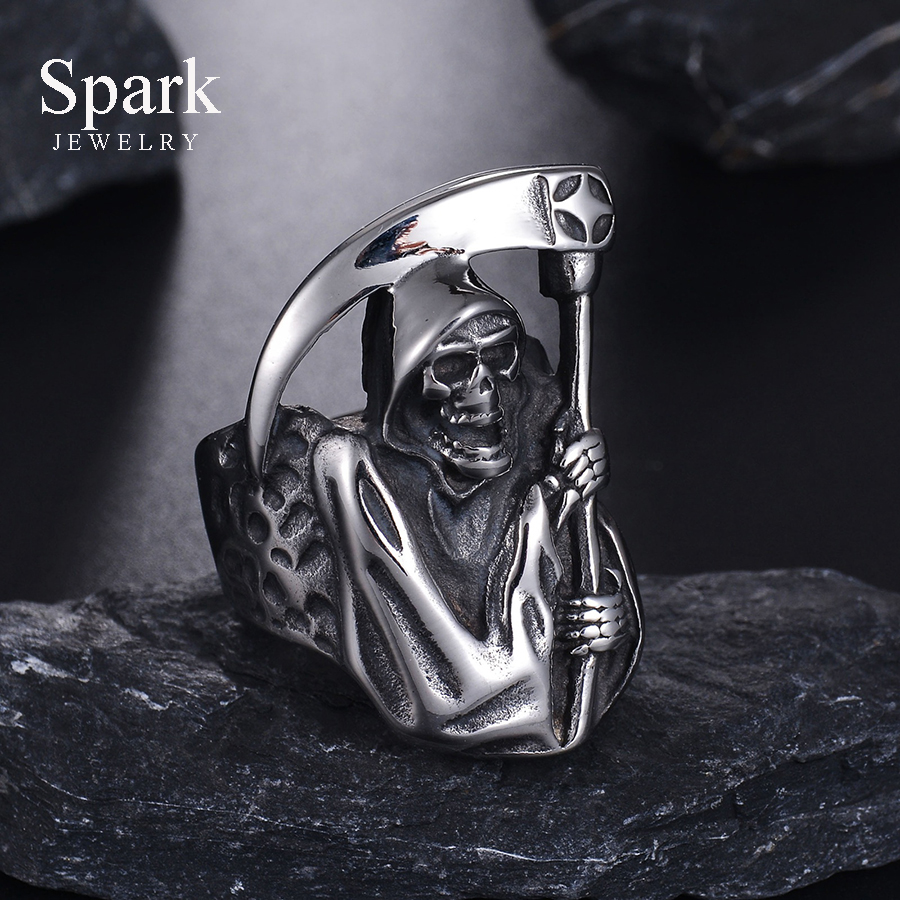 Vintage Punk Style Grim Reaper Skull Ring Stainless Steel Never Fade High Polished Biker Ring For Men Gift Bijoux opk biker stainless steel men bracelet