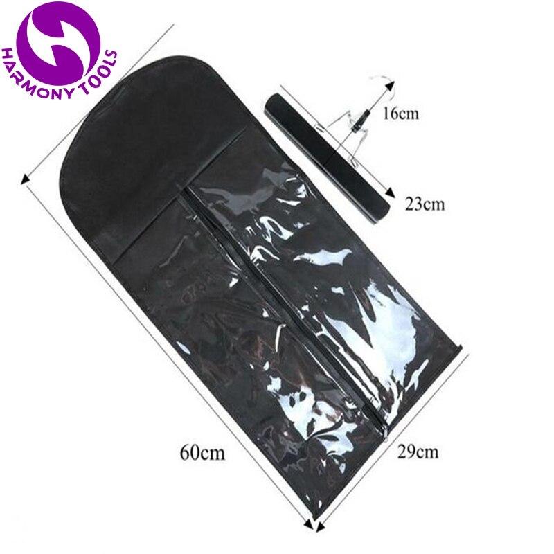 5 세트 지퍼 가방 및 옷걸이 포장 가방 헤어 확장 3 색 사용할 수