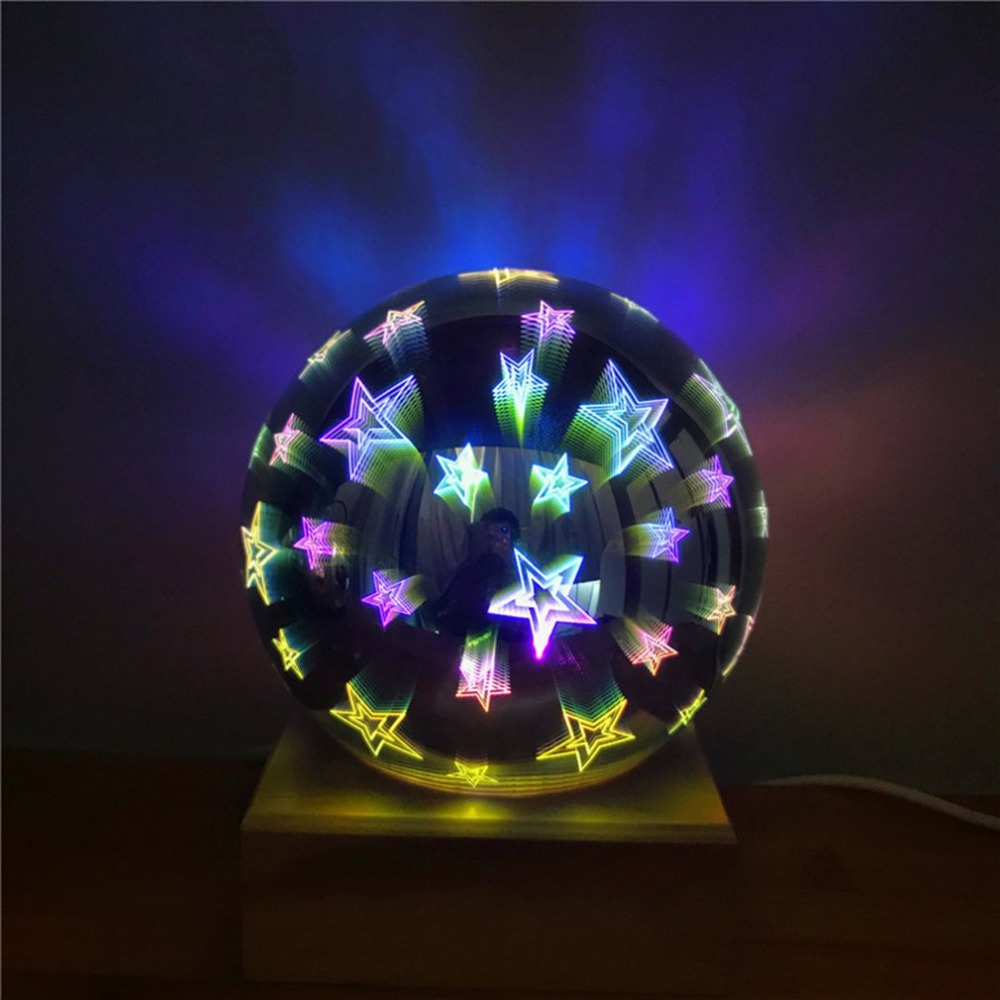 Novelty 3D Star Fireworks Effect Night light LED Lamp Home Decoration Lighting Glass Ball Starry Sky Star Light USB Table Lamp