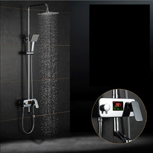 Luxury Digital Temperature Display Shower Faucet 8 Rainfall Showerhead Tub Spout Chrome Shower Mixer Taps