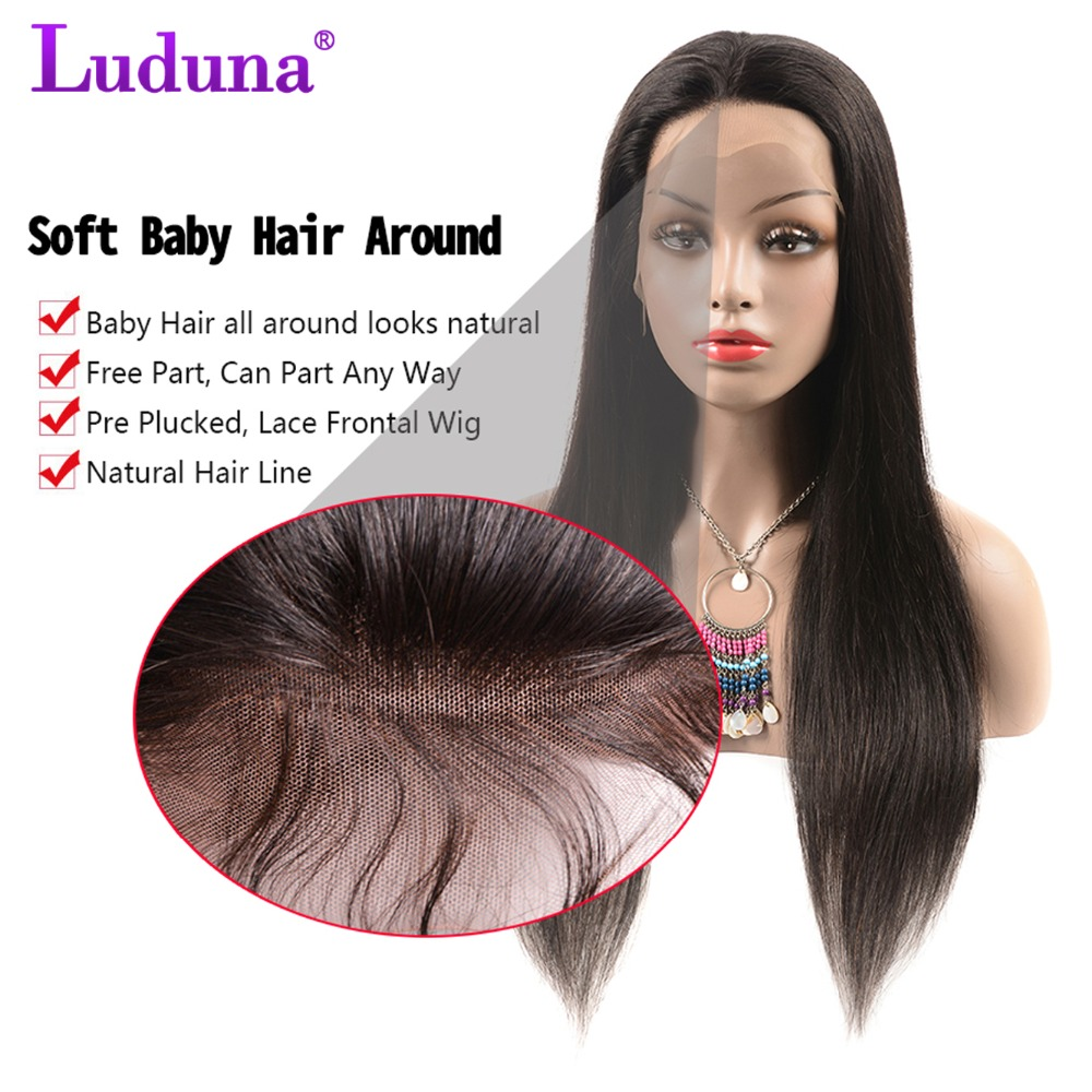 Luduna Brazilian Straight Lace Front Human Hair Wigs For Women Free Part Remy Hair Wig With Baby Hair Natural Hairline Full End
