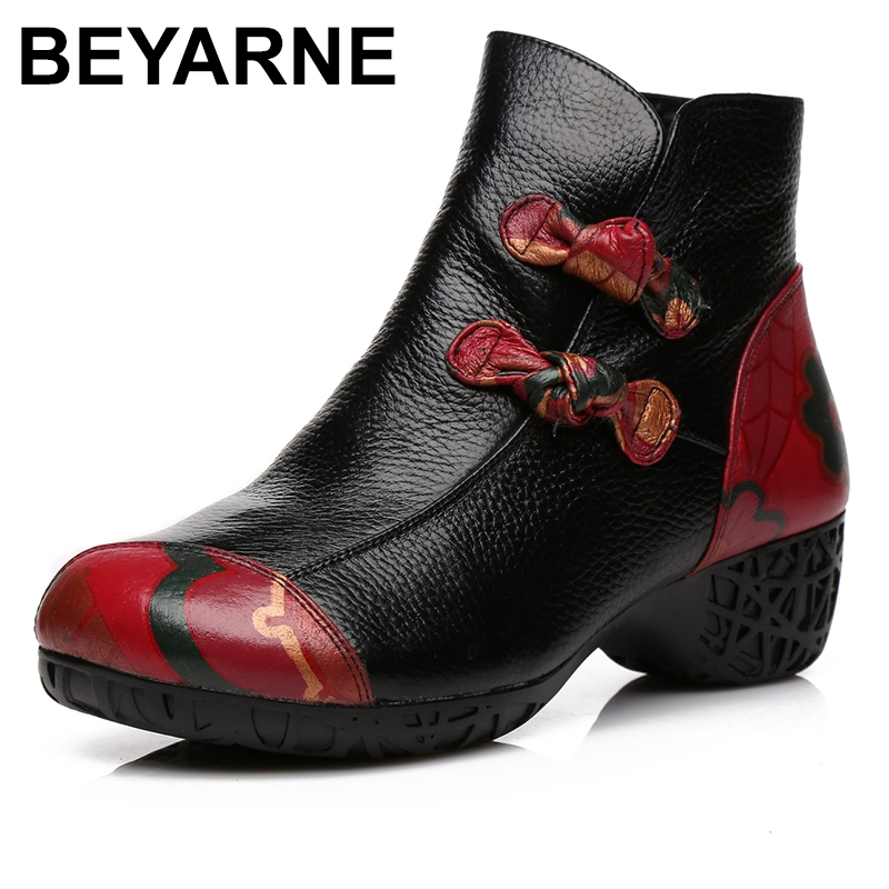 BEYARNE autumn and winter women National trend genuine leather boots handmade vintage motorcycle ankle Shoes flower Martin Boots 2016 new martin male autumn and winter genuine leather platform medium leg mens equestrian vintage motorcycle boots