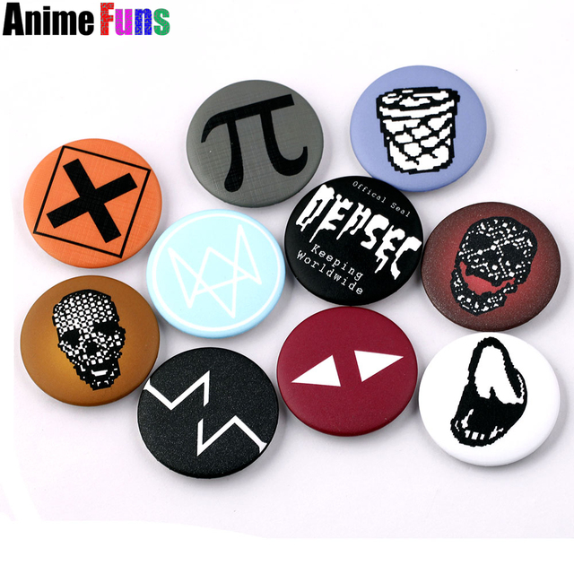 10 types Hot Games Watch Dogs 2 Logo Pin BUTTON Badge Brooche School Bag Badge G