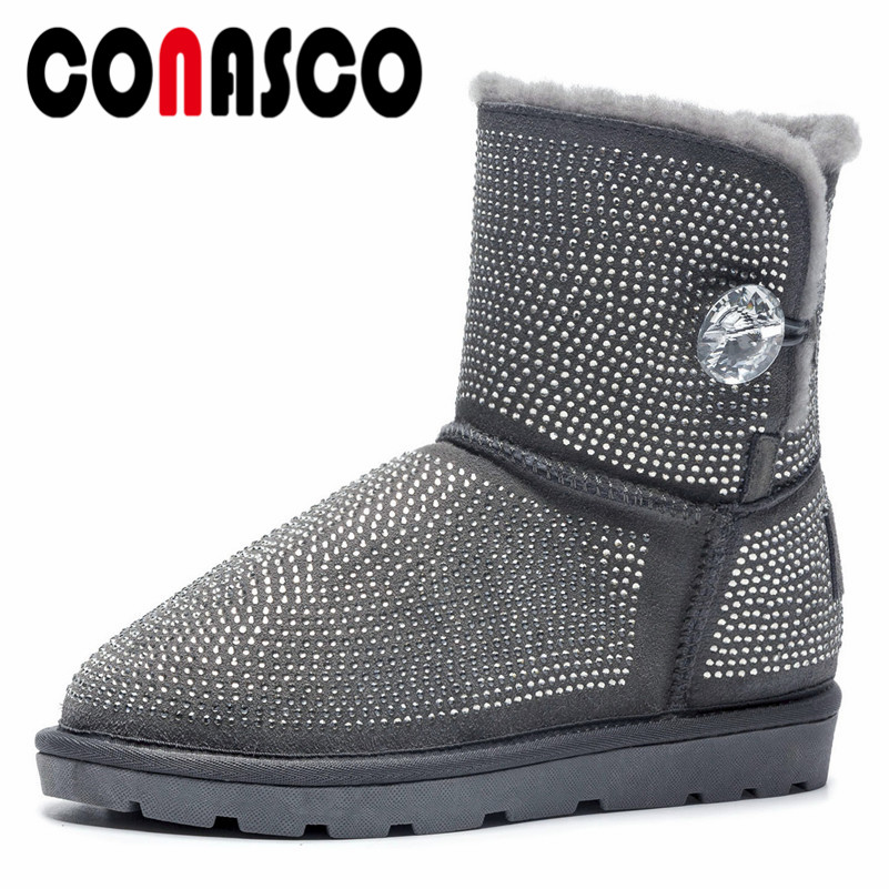 CONASCO Fashion Brand Women Rhinestone Wedding Party Shoes Woman Flats Heels Warm Winter Snow Boots Ladies Short Basic Boots CONASCO Fashion Brand Women Rhinestone Wedding Party Shoes Woman Flats Heels Warm Winter Snow Boots Ladies Short Basic Boots