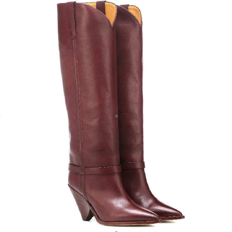 Hot Fashion Sexy Burgundy Patent Leather Knee High Shoe Slip On Pointed Toe Women 39 s Shoes Strange Style Catwalk Ladies Boots in Knee High Boots from Shoes