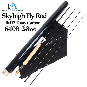 цена на Maximumcatch Skyhigh 6-10ft 2-8wt Fly Fishing Rod Graphite IM12 Toray Carbon 3/4pc Fly Rod with Carbon Tube