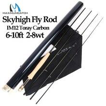 Maximumpick Skyhigh canne à pêche à la mouche en Graphite IM12, en carbone, 6 10 pieds 2 8wt, 3/4 pièces, avec Tube en carbone