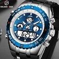GOLDENHOUR Analog Digital Männer Uhr Top Luxus Marke Blau Fall Woche Datum Chronograph Quarz Armbanduhr Mode Sport Uhr-in Quarz-Uhren aus Uhren bei