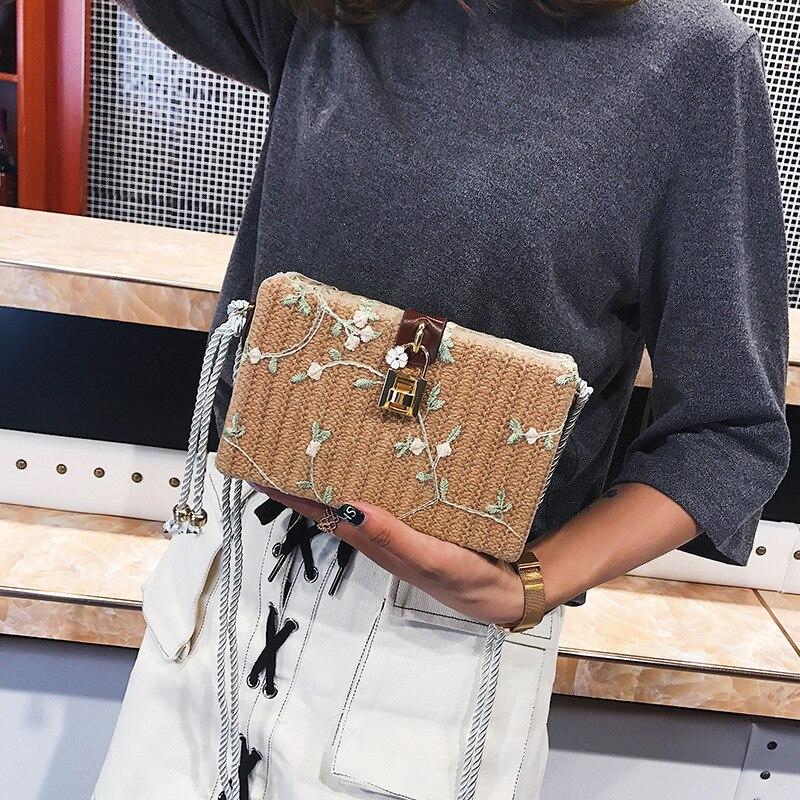 2019 Summer Beach Handbag Women Messenger Bags Square Straw Hand Woven Ladies Crossbody Bag Shoulder Rattan Bags in Shoulder Bags from Luggage Bags