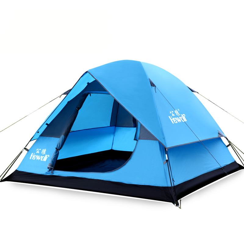 Hewolf Durable 3-4 Person Outdoor Camping Tent Double Layer Waterproof Travel Hiking Tent One Bedroom for Camping Hiking Ect hewolf 2persons 4seasons double layer anti big rain wind outdoor mountains camping tent couple hiking tent in good quality