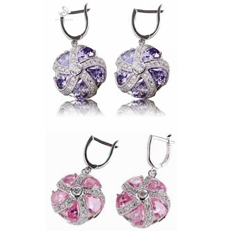 Shunxunze Обручение Свадебные украшения комплекты и больше для женщин фиолетовый розовый кубический цирконий родием r449 r479set Размер 6 7 8 9
