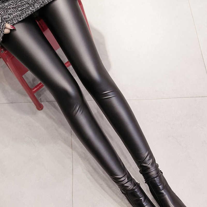 Venda quente Leggings de Couro leggings Outono Das Mulheres Plus Size Preto PU de Couro Sexy Calças Skinny Fêmeas Magros Senhoras Lápis Leggins