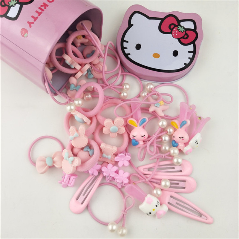 New 50Pcs/Box Fashion Headband Flower Bow Cartoon Hair Clip Children Pink Hair Accessories Elastic Band Baby Girl Gift Hairband baby girl headband cute bow tie princess hair accessories hairband children birthday christmas gift kid infant hair ribbon