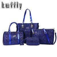 KMFFLY Brand 2017 Luxury Women Bag 6 Piece Set Serpentine Python Women Tote Lady Handbag Messenger