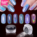 Laser Nail Glitters DIY Shinning Chrome Metal Mirror Powder For Nail Art Tip Decoration Pigment Dust  6 Colors