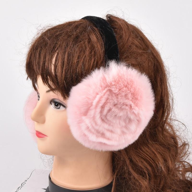 Rex Rabbit Fur Winter Women Warm Rabbit Fur Earmuffs Girl's Earlap Ladie's Plush Ear Muff