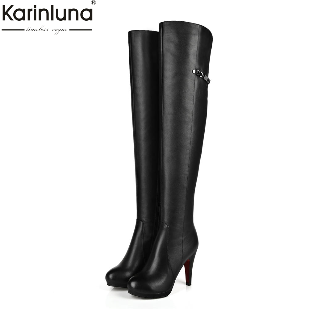 KarinLuna Brand Design Large Size 34-41 Super High Heels Shoes Woman Boots Dropship Zip Up Over The Knee Boots Woman Shoes