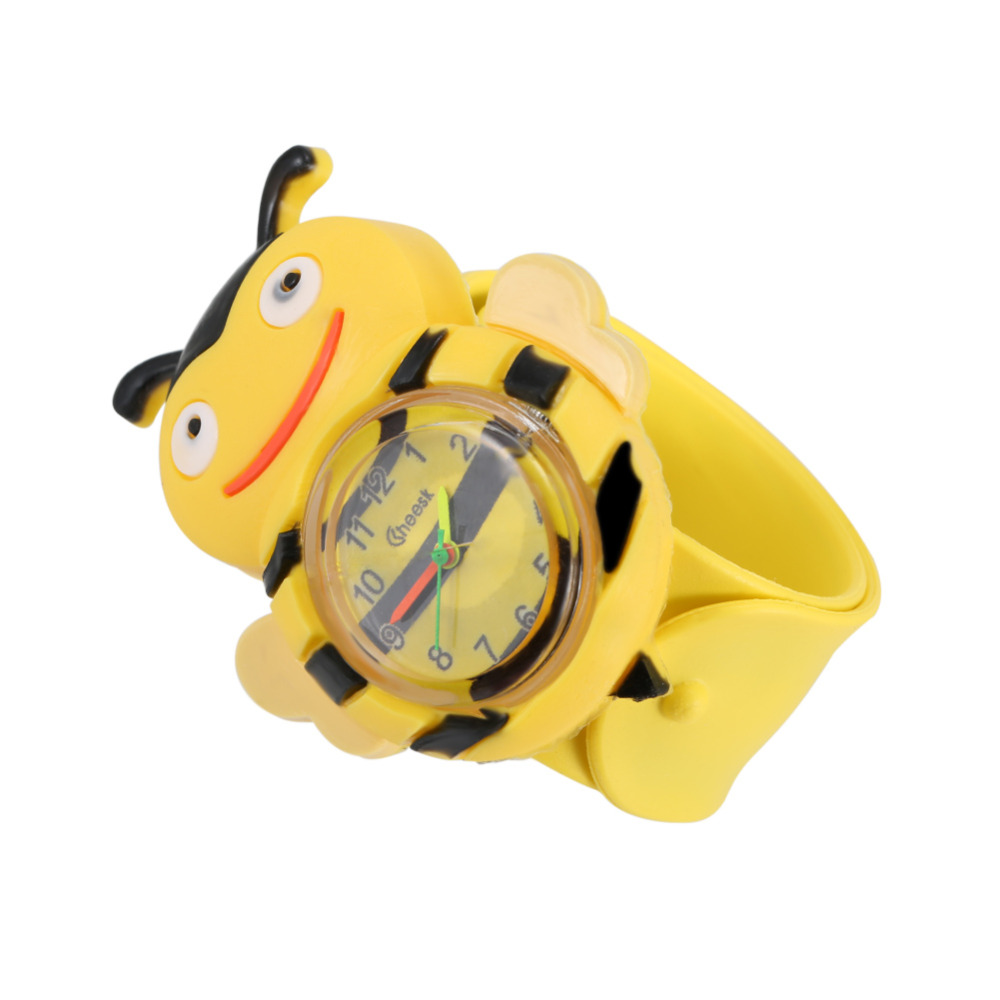 Chirldren Watch Digital Slap Watch Cute Bee Slap Watches for Kids Yellow Flap ring Watch For