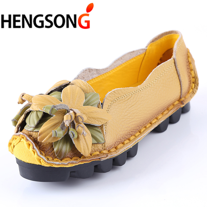 Genuine Leather Shoes For Women Flats Shoes Woman Loafers National Wind Handwork Flower Peas Slip-On Shoes Flat Female 2018 sexemara fashion handwork genuine leather real wool fur women shoes loafers peas shoes woman warm winter flats shoes