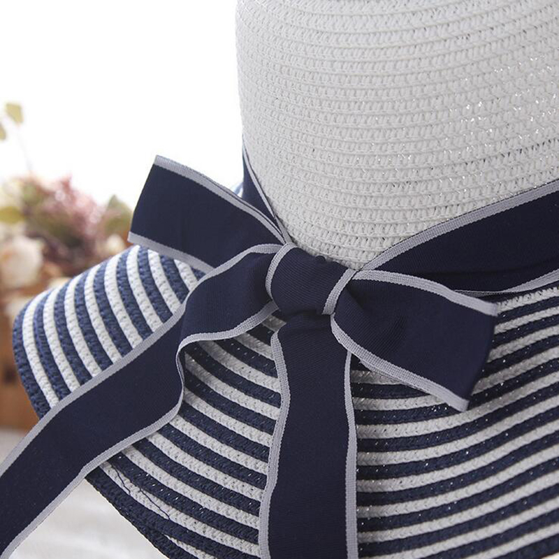 7fabf0376218db 🛒 HOT SALE ❤ Hot Sale Fashion Hepburn Wind Black White Striped Bowknot  Summer Sun Hat Beautiful Women Straw Beach Hat Large Brimmed Hat | 4187381  ❤️