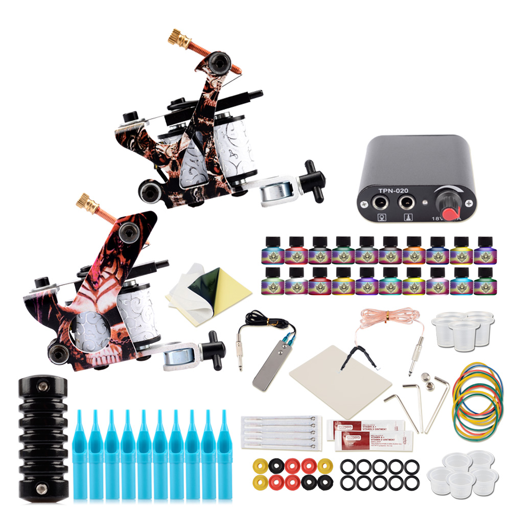 Tattoo Kit Complete 2 Tattoo Machine Gun Kit Black Power Supplies Grips Sets Tattoo Pigment Makeup Body Art Tools For Tattoo SetTattoo Kit Complete 2 Tattoo Machine Gun Kit Black Power Supplies Grips Sets Tattoo Pigment Makeup Body Art Tools For Tattoo Set