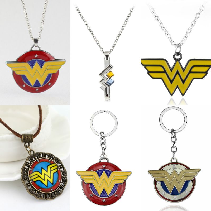 10styl Wonder Woman Necklace Movie Justice League Cool Shield Pendant Fashion Rope Chain Necklaces Women Men Charm Gifts Jewelry
