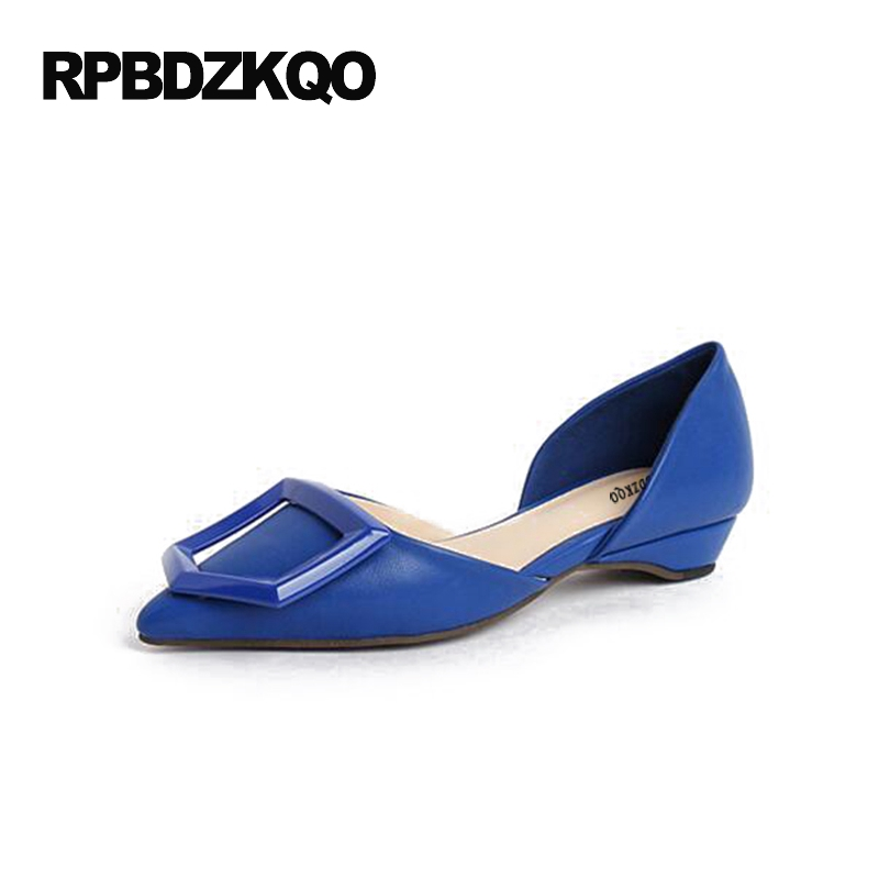 4 34 Small Size Plus 3cm 1 Inch Thick Female Pointed Toe Pumps Shoes Low Heels Summer Women Royal Blue High 9 41 Fashion 33 40 new 2017 spring summer women shoes pointed toe high quality brand fashion womens flats ladies plus size 41 sweet flock t179