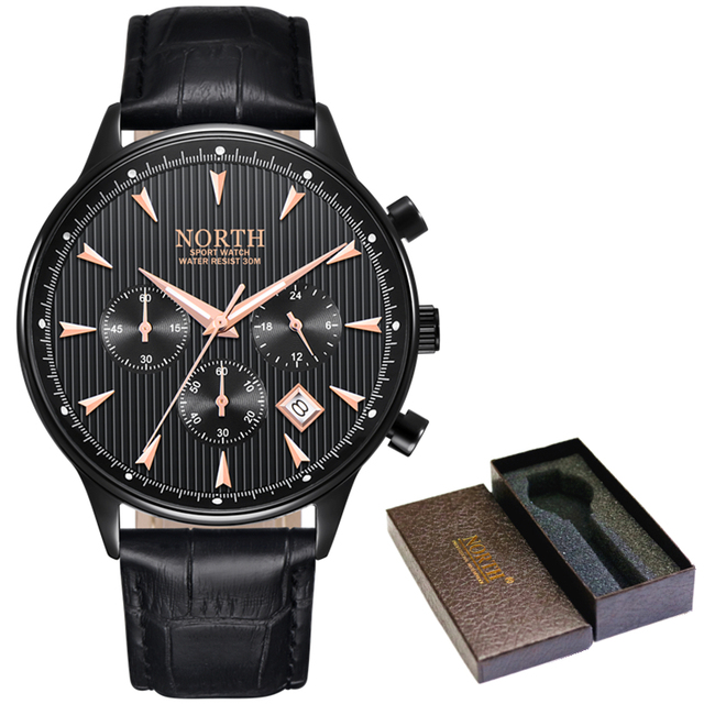 NORTH Men's Auto Date Chronograph Water Resistant Casual Luxury Military Quartz Wrist Watches 5