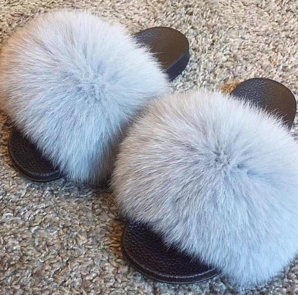 2020  Fox Fur Slide For Women  Cut  Slippers  Fluffy Sliders Plush Furry Summer Flats Sweet Ladies Shoes  Big Size 36- 45