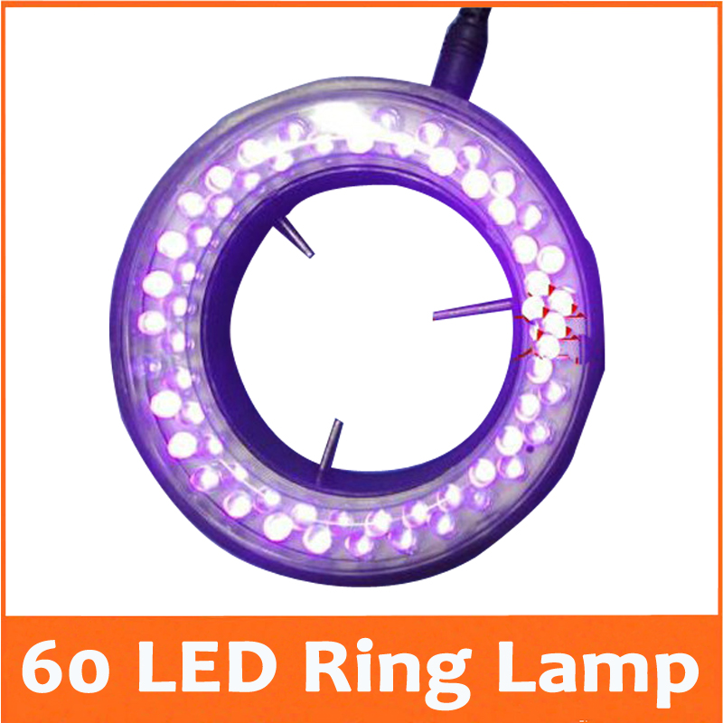 ФОТО Purple Color Lights - 60PCS LED Brightness Adjustable Illuminated Ring Lamp Adapter 220V or 110V for Stereo Microscope