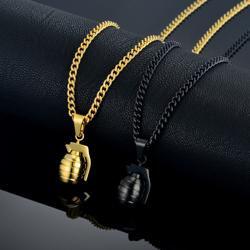 Hip Hop Men's Antitank Grenade Pendant Necklace For Men Jewelry Soldier Friend Gift Military Gold Color Bomb Pendants Necklaces