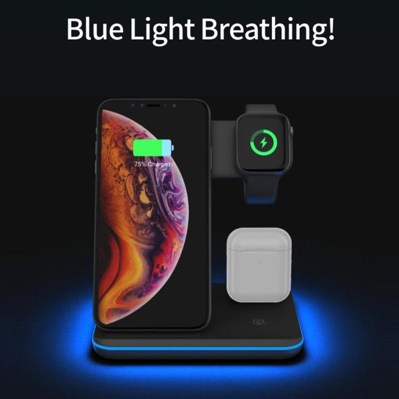 Image 2 - 3 in 1 Charging Dock Holder Stand Charger Station with lightning  for iPhone iWatch Airpod Wireless charger for xiaomi smartphoneMobile  Phone Chargers