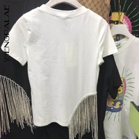 SHENGPALAE Summer Spring 2019 Korean Streetwear Fashion Style Short Sleeve Tassel Patchwork O neck Regular Cotton T shirt FQ419