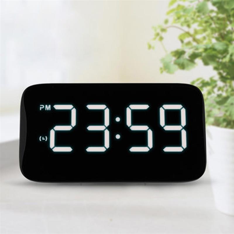Digital LED Alarm Clock Large LED Display Voice Control Electronic Backlight Desktop Alarm Clock (Black With White LED)