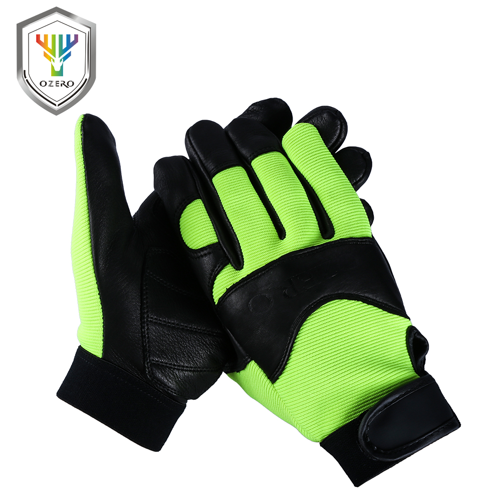 Leather work gloves china - Ozero Deerskin Men Work Driver Gloves Leather Security Protection Wear Safety Workers Working Racing Garage Gloves