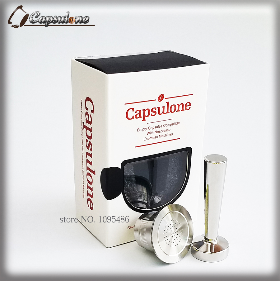 Capsulone/STAINLESS STEEL Metal nespresso  Machine Compatible Refillable Reusable capsule and coffee tamper/nespresso capsule