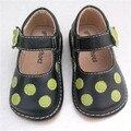 Preço de apuramento para o Bebé Preto Verde Dots Sapatos Doce Sapatos Barulhentos Frete Grátis 1-3Y