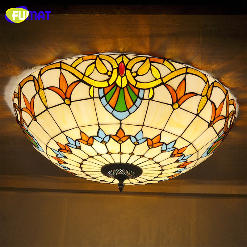 FUMAT Stained Glass Ceiling Lights Baroque Indoor Art ...