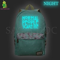 American Horror Story Backpack Luminous School Bags for Teenagers Girls Daily Backpack Floral Wave Point Fashion Travel Bags